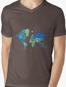 abstract world map with colorful dots Mens V-Neck T-Shirt