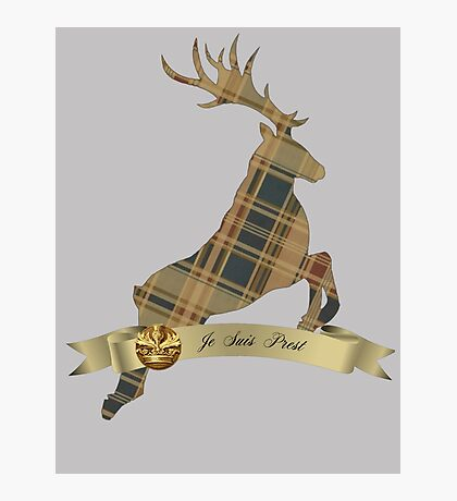 Je Suis Prest\Plaid stag and banner Photographic Print