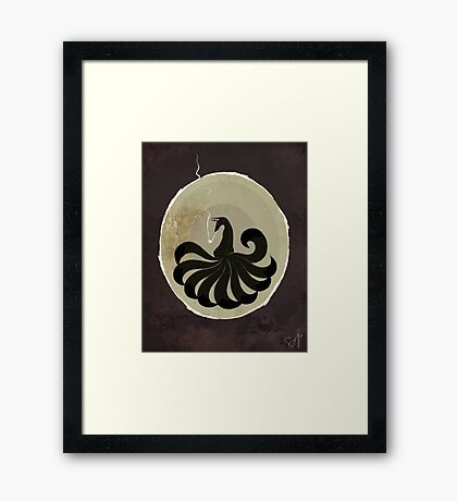 Smoking Kitsune - Black version Framed Print