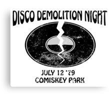 Disco Demolition Night - Black Canvas Print