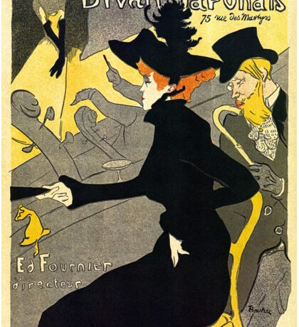 Toulouse Lautrec Divan  Japonais French music hall ad Sticker