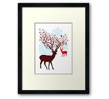 Christmas deer with tree branch antlers and birds Framed Print