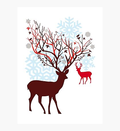 Christmas deer with tree branch antlers and birds Photographic Print