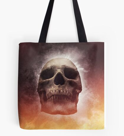 Burning skull on black background Tote Bag