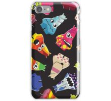 Cute monsters with different emotions on black iPhone Case/Skin