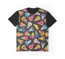 Cute monsters with different emotions on black Graphic T-Shirt