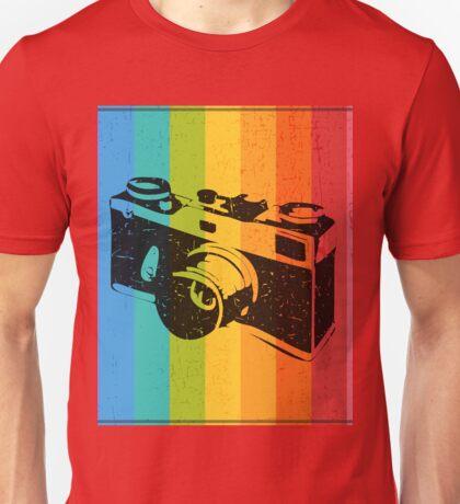 The old camera on rainbow background Unisex T-Shirt
