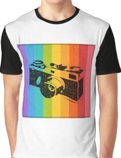 The old camera on rainbow background Graphic T-Shirt