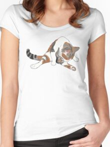 Calico Cat Bath Time Women's Fitted Scoop T-Shirt