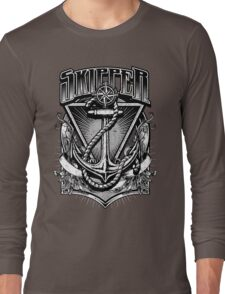 Vintage Nautical Skipper with Anchor and Rope Long Sleeve T-Shirt