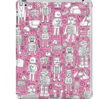 Robot Pattern - pink & white iPad Case/Skin
