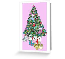 Cats and Dogs Christmas Tree Greeting Card