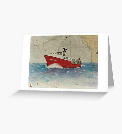 WINDJAMMER Trawl Fish Boat Cathy Peek Nautical Chart Map Greeting Card