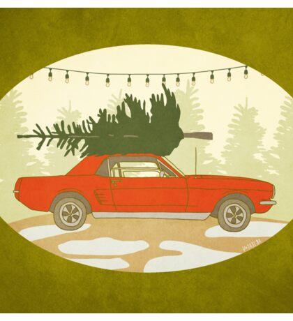 Mustang Holiday - Christmas Tree Farm Painting Sticker