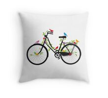 Old vintage bicycle with flowers and birds Throw Pillow