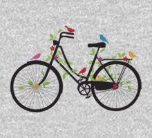 Old vintage bicycle with flowers and birds Kids Clothes