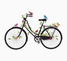 Old vintage bicycle with flowers and birds by beakraus