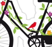 Old vintage bicycle with flowers and birds Sticker