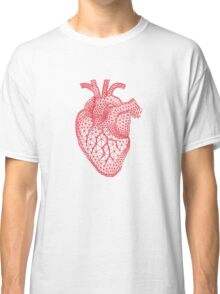 red human heart with geometric mesh pattern Classic T-Shirt