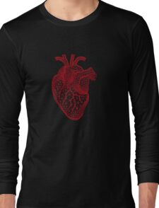 red human heart with geometric mesh pattern Long Sleeve T-Shirt