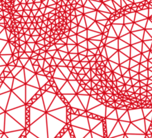 red human heart with geometric mesh pattern Sticker