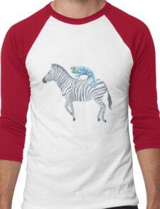 Blue Lizard on a Zebra Vintage Watercolor Men's Baseball ¾ T-Shirt