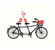 tandem bicycle with cute love birds Art Print