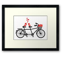 tandem bicycle with cute love birds Framed Print