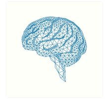 blue human brain with geometric mesh pattern Art Print