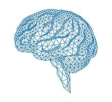 blue human brain with geometric mesh pattern Photographic Print