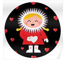 Little Eskimo kid for Valentine's Day Poster