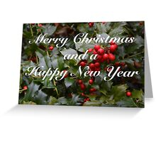 Merry Christmas Holly Berries Card Greeting Card