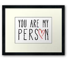 You are my person, text design with red scribble heart Framed Print