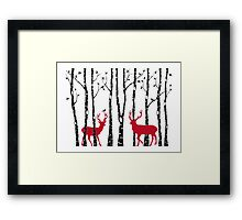 Christmas deers in birch tree forest Framed Print