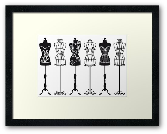 Vintage fashion mannequins silhouettes by beakraus