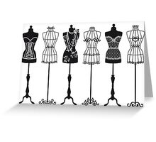 Vintage fashion mannequins silhouettes Greeting Card