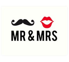Mr and Mrs, text design with mustache and red lips Art Print