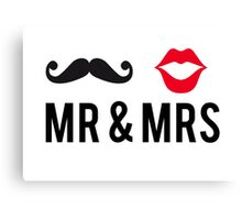 Mr and Mrs, text design with mustache and red lips Canvas Print