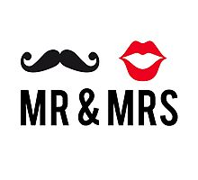 Mr and Mrs, text design with mustache and red lips Photographic Print