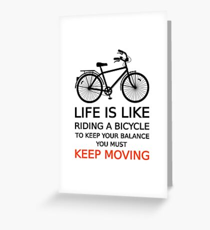 life is like riding a bicycle, text design, word art Greeting Card