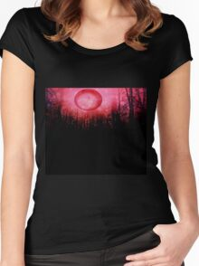 THE RED TREES GALAXY MOON Women's Fitted Scoop T-Shirt