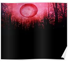 THE RED TREES GALAXY MOON Poster