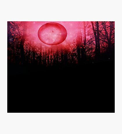 THE RED TREES GALAXY MOON Photographic Print