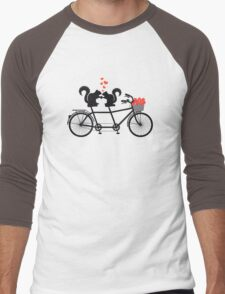 tandem bicycle with squirrels Men's Baseball ¾ T-Shirt