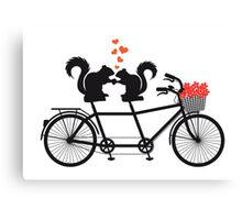 tandem bicycle with squirrels Canvas Print