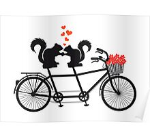 tandem bicycle with squirrels Poster