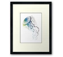 colorful jellyfish, sea life, drawing, illustration Framed Print