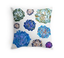 Bright blue and white fashion print Throw Pillow
