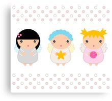 Cute Christmas Kawaii Angels Canvas Print