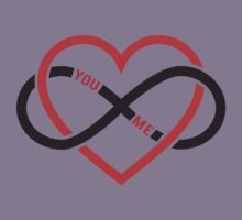 never ending love, red heart with infinity sign Kids Clothes